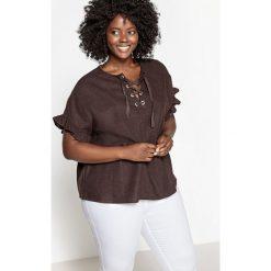 Bluzki asymetryczne: Bluzka lniana z falbankami przy rękawach i sznurowaniem przy dekolcie