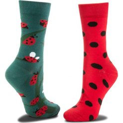 Skarpety Wysokie Damskie MANY MORNINGS - Dots And Bugs Czerwony Zielony. Czerwone skarpetki damskie Many Mornings, z bawełny. Za 29,00 zł.