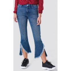 Rut&Circle Jeansy z asymetrycznymi brzegami - Blue. Niebieskie jeansy damskie Rut&Circle, z podwyższonym stanem. Za 242,95 zł.