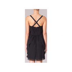 Sukienki krótkie Naf Naf  LENY R1. Czarne sukienki hiszpanki NAF NAF, ze lnu, z krótkim rękawem, mini. Za 258,30 zł.