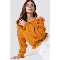 Swetry klasyczne damskie: Glamorous Sweter z odkrytymi ramionami - Orange