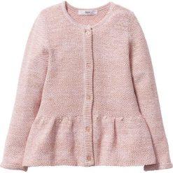 Swetry dziewczęce: Sweter rozpinany z połyskiem bonprix pastelowy jasnoróżowy – złoty