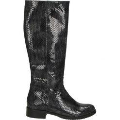 Kozaki ocieplane - Z876-1 PIT GR. Czarne buty zimowe damskie marki Kazar, ze skóry, na wysokim obcasie. Za 299,00 zł.