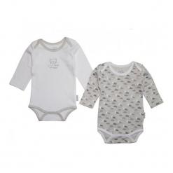 Gelati Body Dziecięce Długi Rękaw Set 2 Szt. 62/68 Biały/Szary. Białe body niemowlęce Gelati, z długim rękawem. Za 65,00 zł.