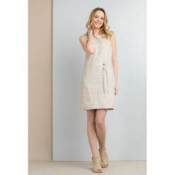 Sukienki: Lniana sukienka z wiązaniem
