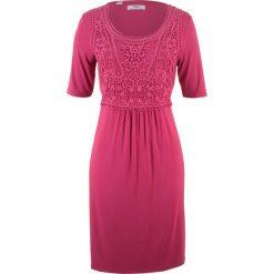 Sukienki hiszpanki: Sukienka z koronkową wstawką, krótki rękaw bonprix jeżynowo-czerwony