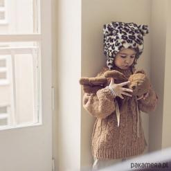 Czapka z uszami Lampart. Brązowe czapeczki niemowlęce Pakamera, z bawełny. Za 110,00 zł.