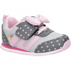 Szare buty sportowe z kokardką na rzepy American CA41-17005A. Szare buciki niemowlęce American, na rzepy. Za 69,99 zł.