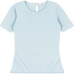 Sweter kaszmirowy w kolorze błękitnym. Niebieskie swetry klasyczne damskie marki Ateliers de la Maille, z kaszmiru, z okrągłym kołnierzem. W wyprzedaży za 318,95 zł.