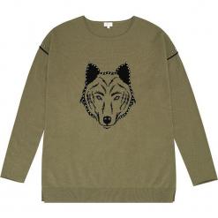 Sweter kaszmirowy w kolorze oliwkowym. Brązowe swetry klasyczne damskie marki Ateliers de la Maille, z kaszmiru, z okrągłym kołnierzem. W wyprzedaży za 545,95 zł.