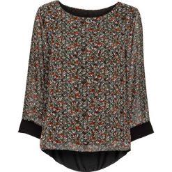 Bluzki damskie: Bluzka bonprix czarny w kwiaty
