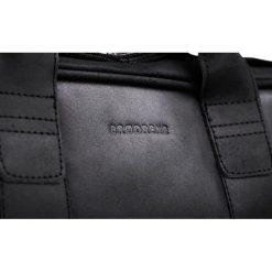 Skórzana torba Elegancja i nowoczesność Czarny. Czarne torby na laptopa marki Brødrene, w paski, ze skóry. Za 350,00 zł.