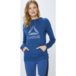 Reebok - Bluza. Szare bluzy z kapturem damskie marki Reebok, l, z nadrukiem, z bawełny. W wyprzedaży za 199,90 zł.