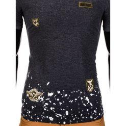 T-SHIRT MĘSKI Z NADRUKIEM S841 - GRAFITOWY. Szare t-shirty męskie z nadrukiem Ombre Clothing, m. Za 29,00 zł.