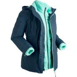 Kurtka outdoorowa 3 w 1, z bluzą z polaru bonprix ciemnoniebiesko-niebieski mentolowy. Niebieskie bluzy damskie bonprix, s, z polaru. Za 249,99 zł.