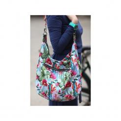 Kolorowa torba kaktusy kwiaty kolorowe wzory. Czarne torebki klasyczne damskie marki Karolina audycka, z haftami, z materiału, duże, z haftem. Za 179,00 zł.