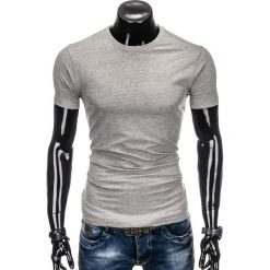 T-shirty męskie: T-SHIRT MĘSKI BEZ NADRUKU S884 – SZARY
