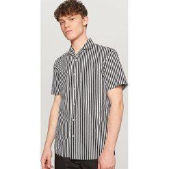 Koszule męskie na spinki: Koszula w pionowe paski – Czarny