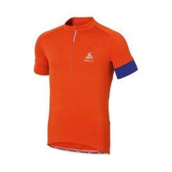 Odlo Koszulka męska Stand-up collar s/s 1/2 zip GAVIA niebiesko-pomarańczowa r. M (410892). Brązowe koszulki sportowe męskie marki Odlo, m. Za 289,95 zł.