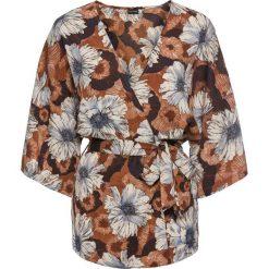 Bluzki damskie: Bluzka kimono z paskiem bonprix brązowo-niebieski w kwiaty