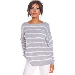 """Sweter """"Jena"""" w kolorze jasnoszarym. Szare swetry klasyczne damskie marki 100% Maille, s, z dekoltem w łódkę. W wyprzedaży za 108,95 zł."""