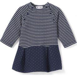Sukienka z moltonu, w paski, ze wzorkiem, 1 mies. - 3 lata. Niebieskie sukienki dziewczęce La Redoute Collections, w paski, z bawełny, z długim rękawem, długie, maxi. Za 69,26 zł.