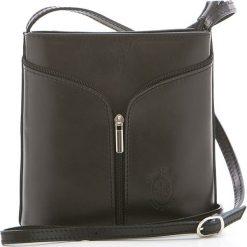 Torebki klasyczne damskie: Skórzana torebka w kolorze czarnym – 17 x 19 x 7 cm