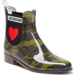 Kalosze LOVE MOSCHINO - JA21013G06JP0852  St.Camoufl.Mili. Zielone buty zimowe damskie Love Moschino, z materiału. Za 559,00 zł.