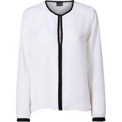 Bluzki damskie: Bluzka bonprix biel wełny - czarny