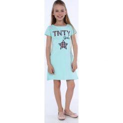 Sukienka dziewczęca z kieszeniami jasnomiętowa NDZ8149. Zielone sukienki dziewczęce z falbanami Fasardi. Za 49,00 zł.