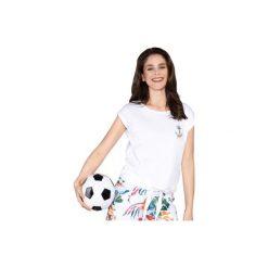 Bluzka z wiązaniem z printem. Szare bluzki z odkrytymi ramionami marki TXM. Za 19,99 zł.