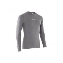 Podkoszulek do piłki nożnej długi rękaw Keepdry 100. Czarne odzież termoaktywna męska marki KIPSTA, m, z elastanu, z długim rękawem, na fitness i siłownię. Za 29,99 zł.