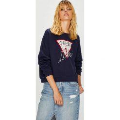 Guess Jeans - Bluza. Szare bluzy rozpinane damskie Guess Jeans, l, z nadrukiem, z bawełny, bez kaptura. Za 319,90 zł.