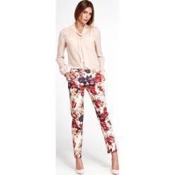 Klasyczne spodnie w kwiaty sd33. Niebieskie spodnie z wysokim stanem NIFE, w kwiaty, z materiału. Za 139,00 zł.