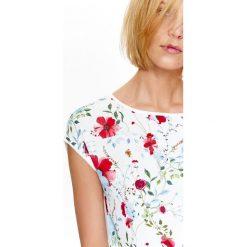 BLUZKA Z ŁĄCZONYCH MATERIAŁÓW Z NADRUKIEM W KWIATY. Szare bluzki z odkrytymi ramionami Top Secret, w kwiaty, z materiału, eleganckie, z krótkim rękawem. Za 34,99 zł.