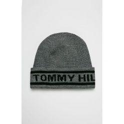 Tommy Hilfiger - Czapka. Szare czapki zimowe męskie TOMMY HILFIGER, na zimę, z dzianiny. Za 159,90 zł.
