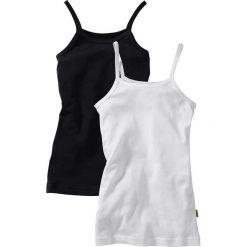 Top (2 szt.) bonprix czarny + biały. Czarne bluzki dziewczęce marki bonprix, w paski, z dresówki. Za 25,98 zł.