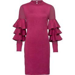 Sukienka z falbanami bonprix jeżynowo-czerwony. Czerwone sukienki balowe bonprix. Za 149,99 zł.