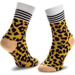 Skarpety Wysokie Damskie HAPPY SOCKS - SFEM01-2000 Kolorowy Żółty. Żółte skarpetki damskie marki Happy Socks, w kolorowe wzory, z bawełny. Za 39,90 zł.