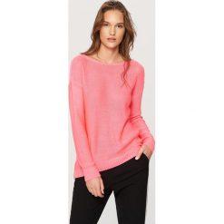 Kardigany damskie: Sweter z dekoltem z tyłu - Różowy