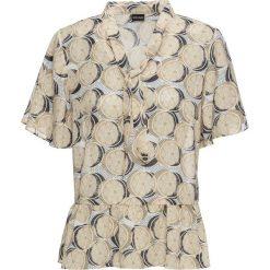 Bluzki damskie: Bluzka z krawatką bonprix piaskowy z nadrukiem