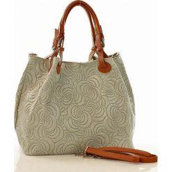 Shopper bag damskie: Skórzana torebka shopper MAZZINI - LINDA szara