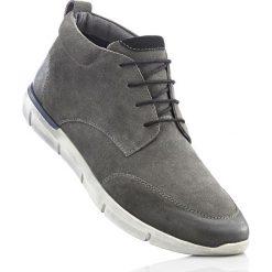 Buty zimowe męskie: Botki skórzane sznurowane bonprix antracytowy