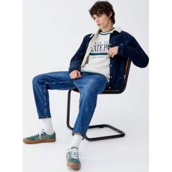 Bluza college z kontrastowymi ściągaczami. Szare bluzy męskie rozpinane Pull&Bear, m. Za 99,90 zł.