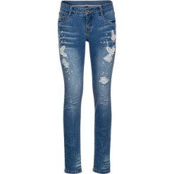 """Dżinsy Skinny  z haftem bonprix niebieski """"stone"""". Niebieskie rurki damskie bonprix, z haftami, z jeansu. Za 124,99 zł."""