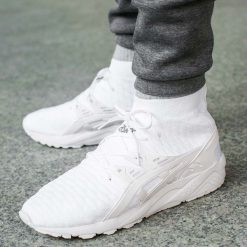 """Buty Asics Gel-Kayano Trainer Knit MT """"White"""" (H7P4N-0101). Białe halówki męskie Asics, z materiału, asics gel kayano. Za 179,99 zł."""