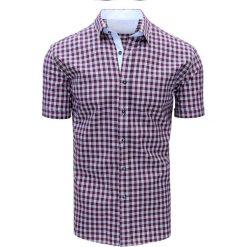 Koszule męskie na spinki: Granatowo-czerwona koszula męska w kratę (kx0842)