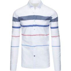 Koszule męskie na spinki: Biała koszula męska w paski (dx1287)