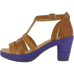 """Rzymianki damskie: Skórzane sandały """"Coconut"""" w kolorze jasnobrązowo-fioletowym"""