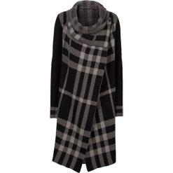 Płaszcz dzianinowy bonprix czarno-szary w kratę. Czarne płaszcze damskie pastelowe bonprix, na zimę, z dzianiny, eleganckie. Za 109,99 zł.
